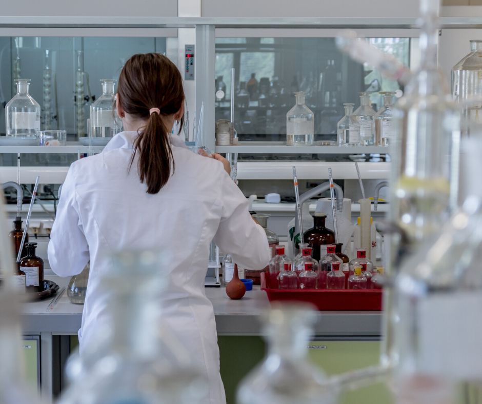Female researcher working in lab